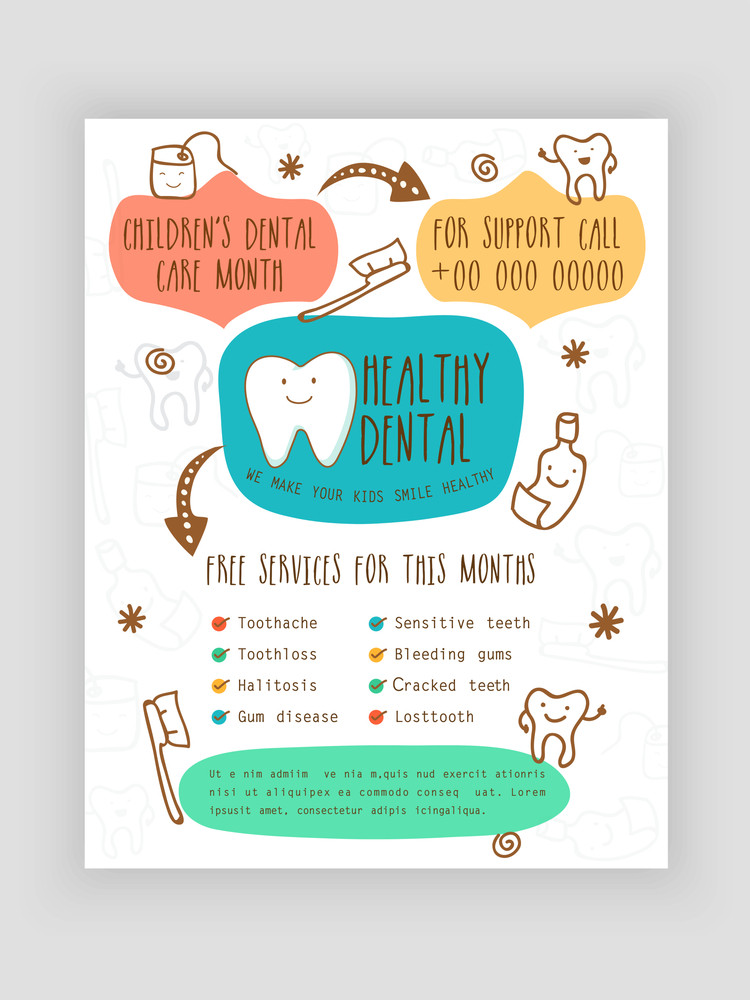 free dental brochure templates - template brochure or flyer presentation for healthy dental