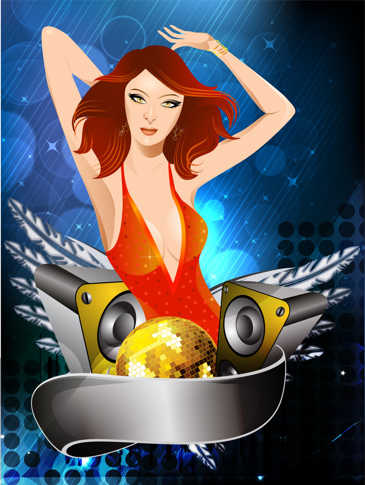 Template Flyer And Background For Dance Party With Beautiful Dancing Girl10
