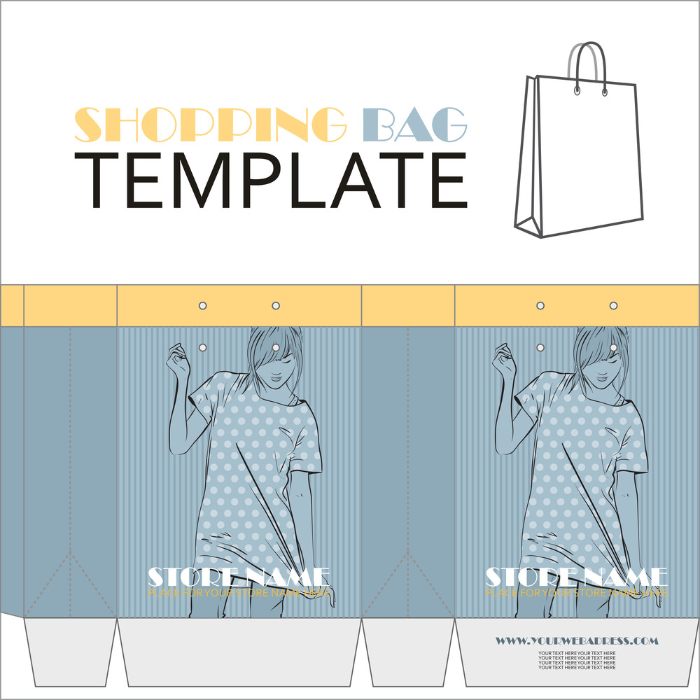 Template For Paper Shopping Bag With Girl Character.