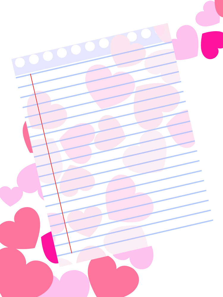 Template Of A Love Card On Pink Hearts Shape Background With Blank Note Paper.
