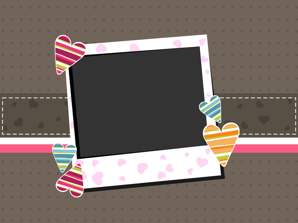 Template Photo Frame With Colorful Hearts On Brown Background.