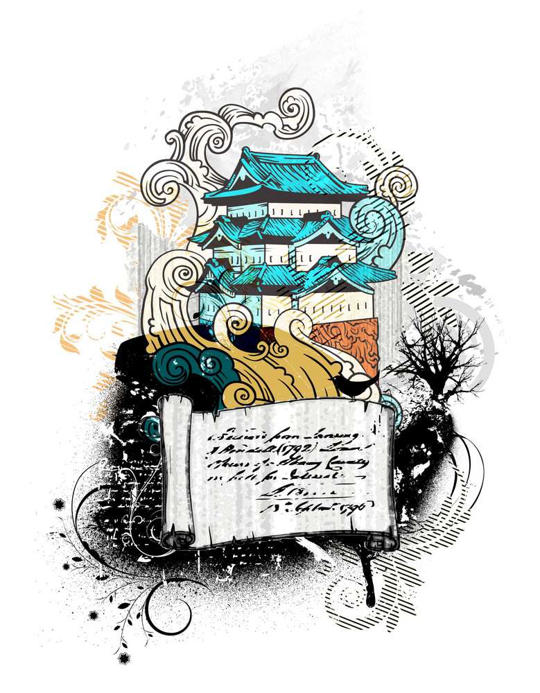 Temple With Scroll Vector Illustration