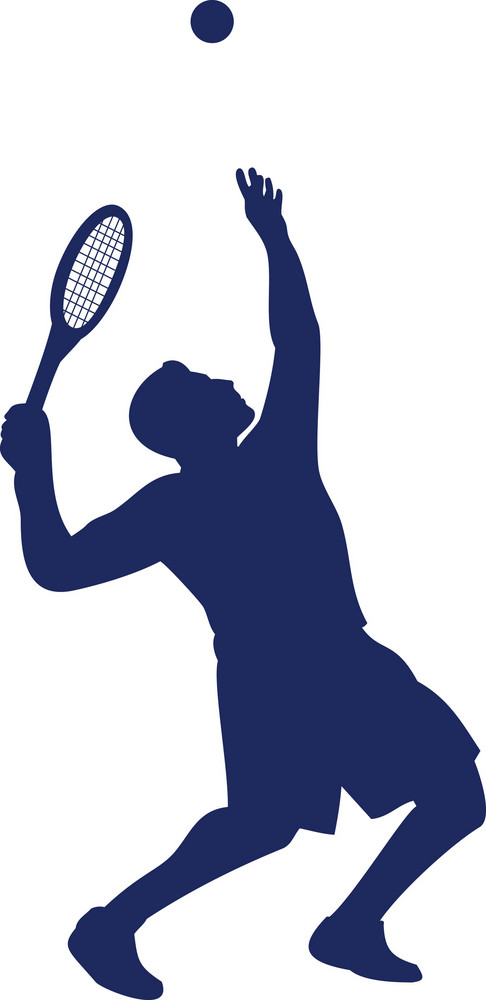 Tennis Player Serving Silhouette