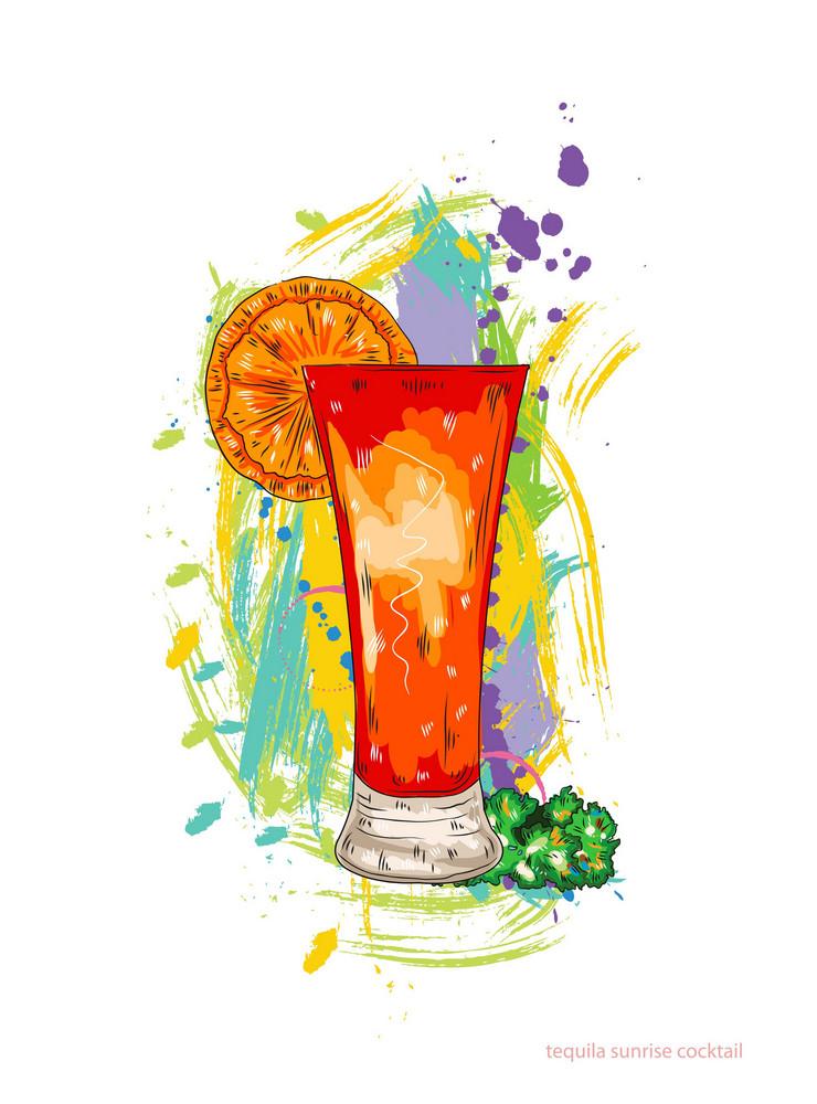 Tequila Sunrise Cocktail Vector Illustration