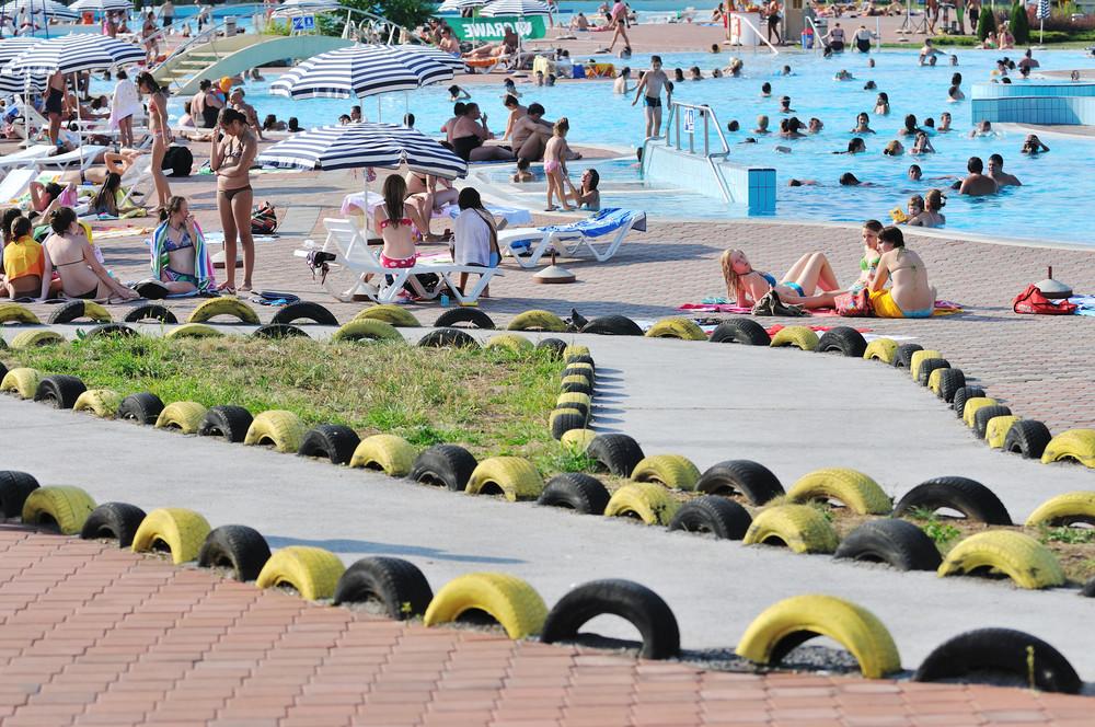 Water slide fun on outdoor pool