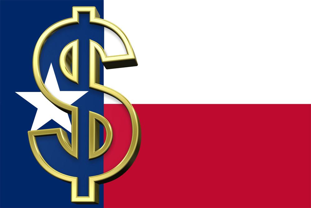 Texas Flag With Dollar Sign.