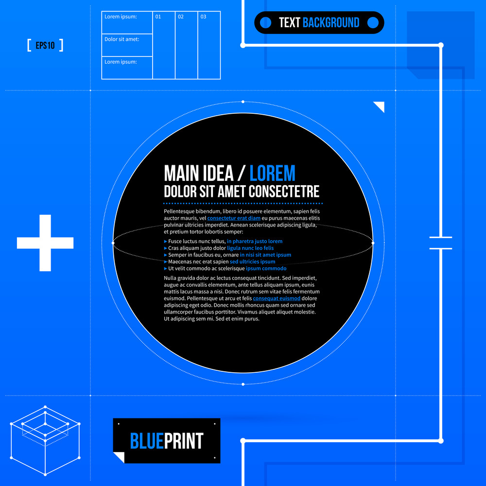 Text background template with black circle in blueprint style eps10 text background template with black circle in blueprint style eps10 malvernweather Image collections