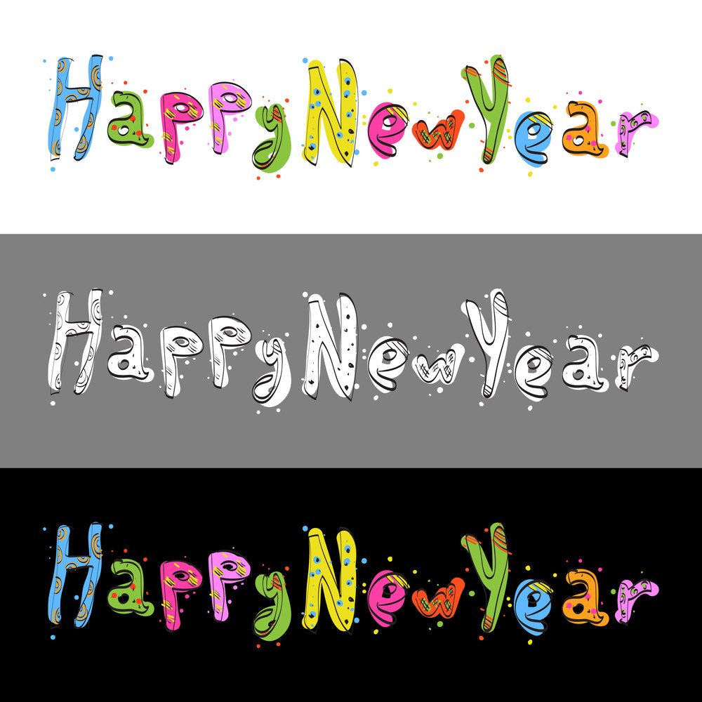 """Text """"happy New Year""""  From Candy Alphabet. Vector Illustration"""