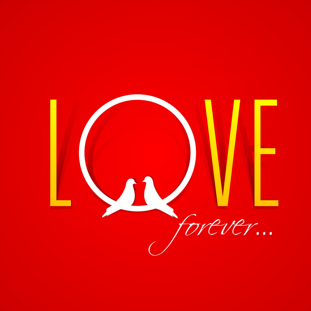 Text Love Fever Over Red Background With Two Love Birds