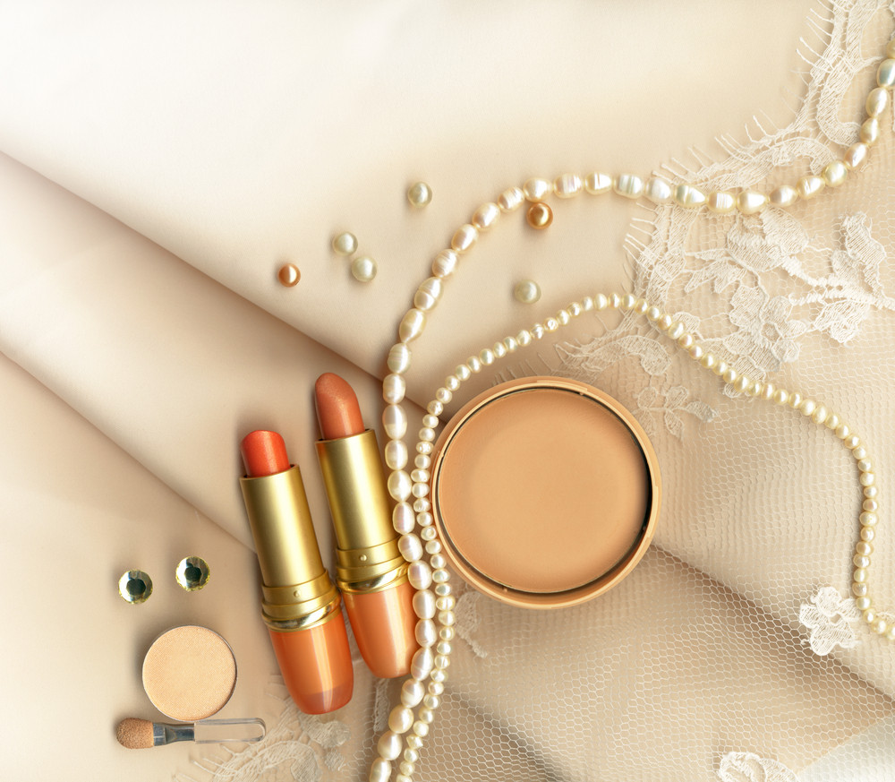 Textile Wedding Background And Makeup For The Bride