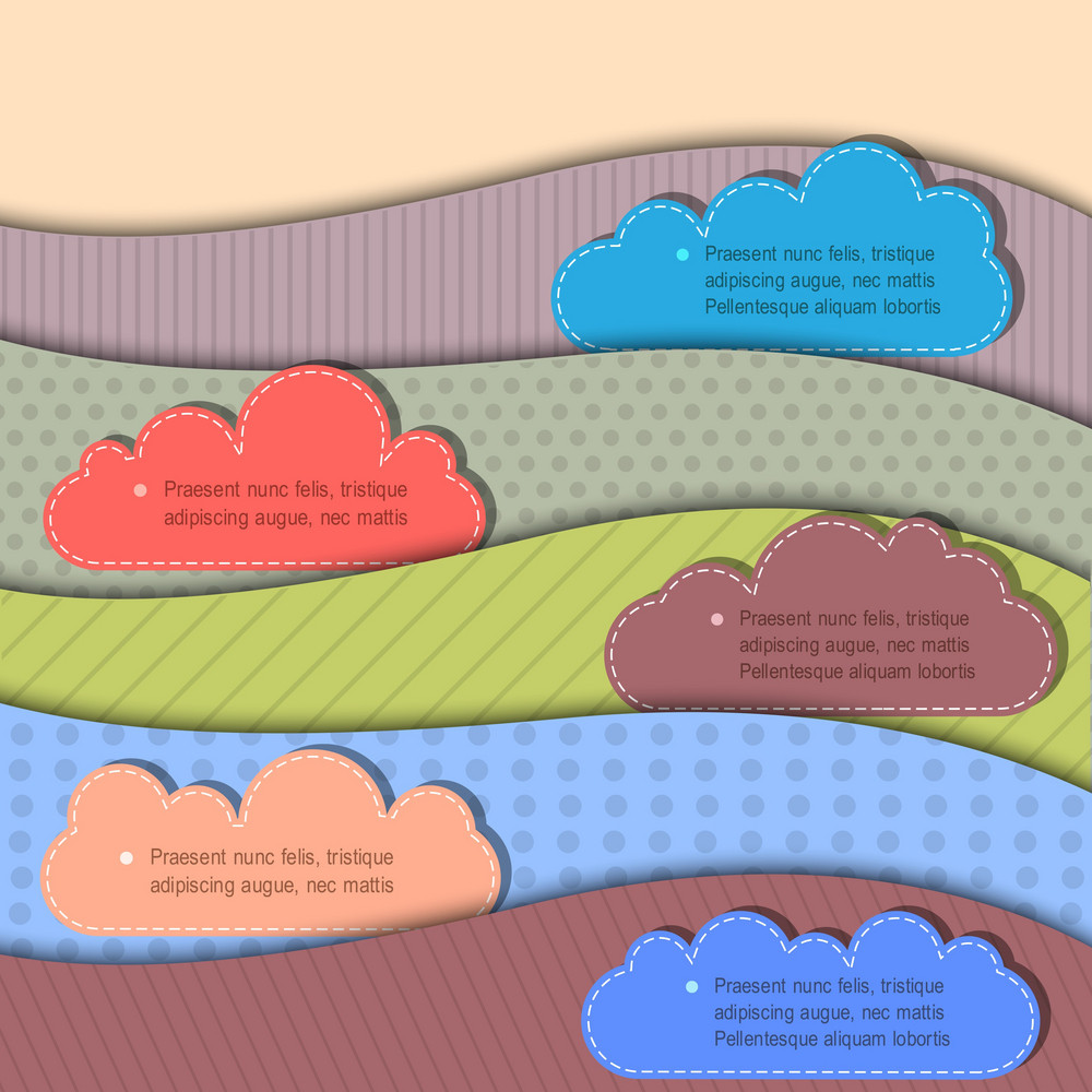 Textured Paper Banners With Clouds For Speech