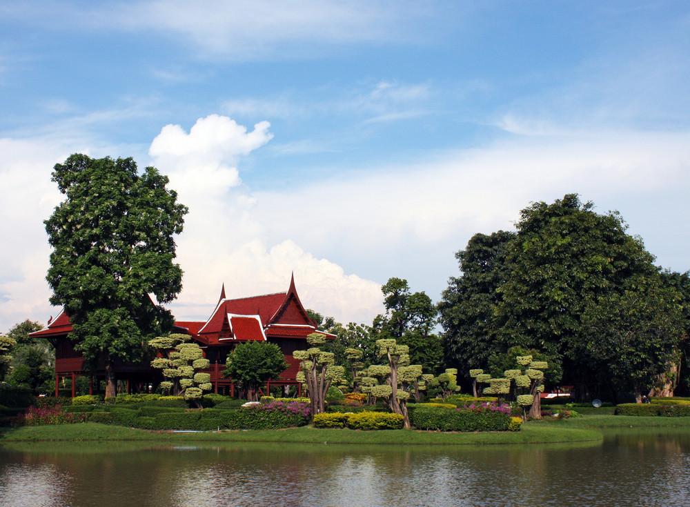 Thai Building With Garden