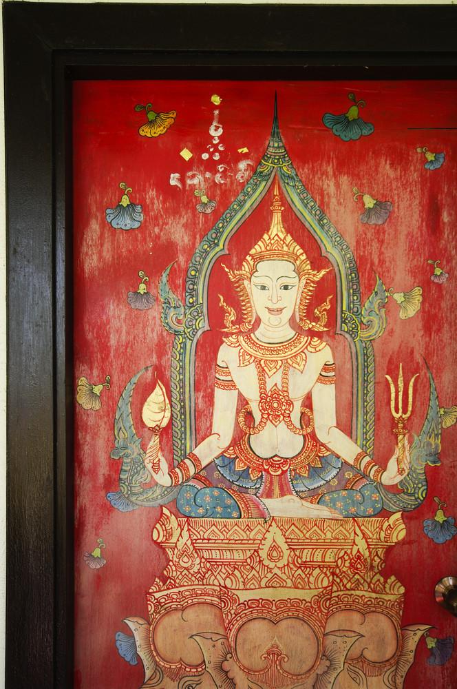 Thailand drawing on temple door