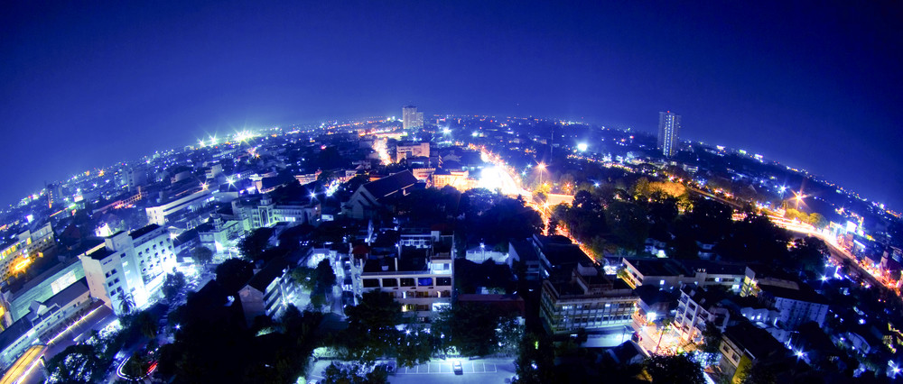 thailand night view from building(fisheye lens)
