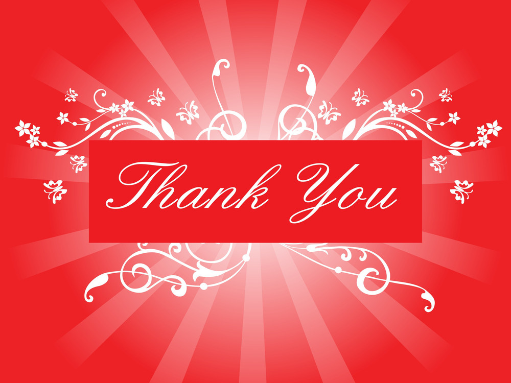 Thank You Card With Floral Pattern