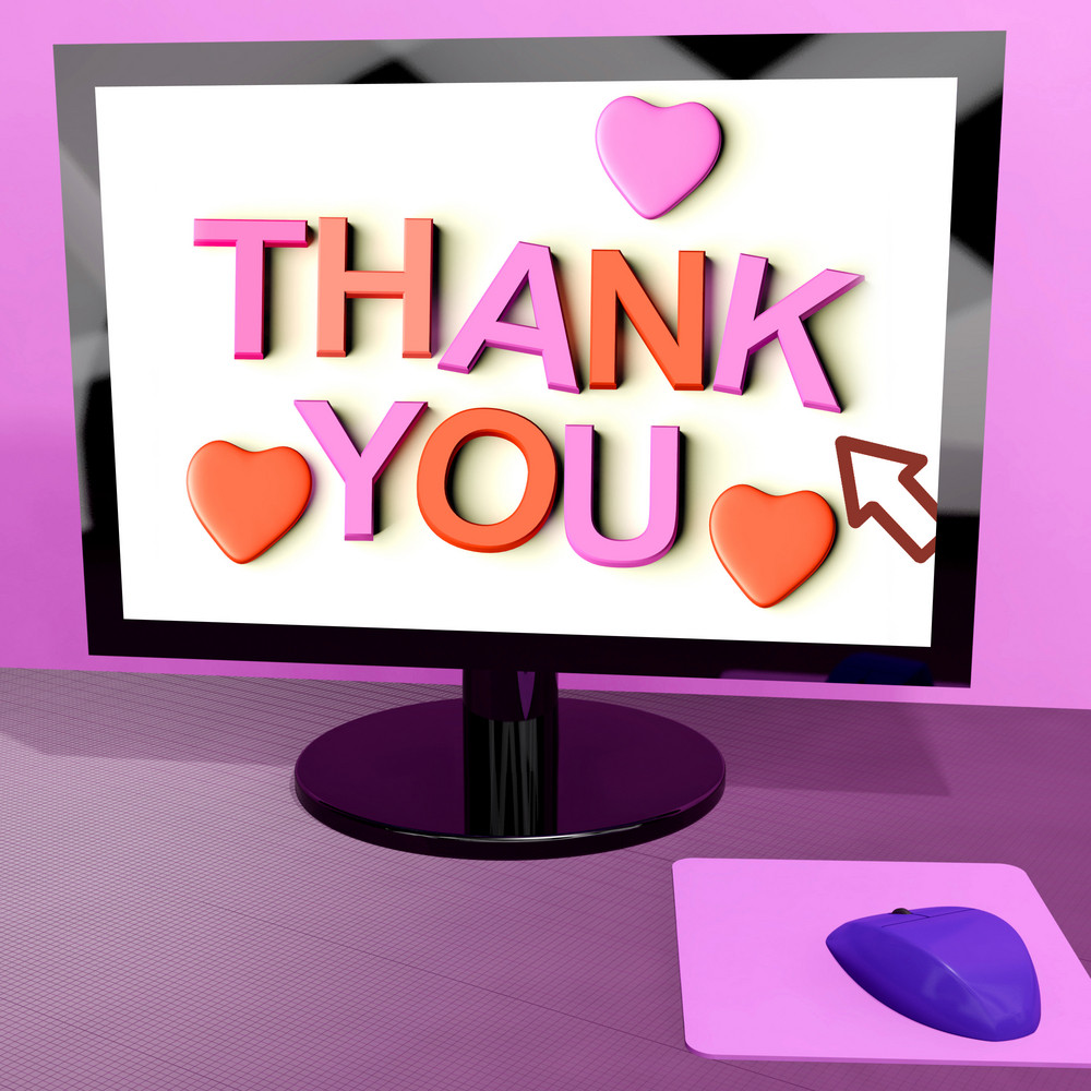 Thank You Message On Computer Screen Showing Online Appreciation