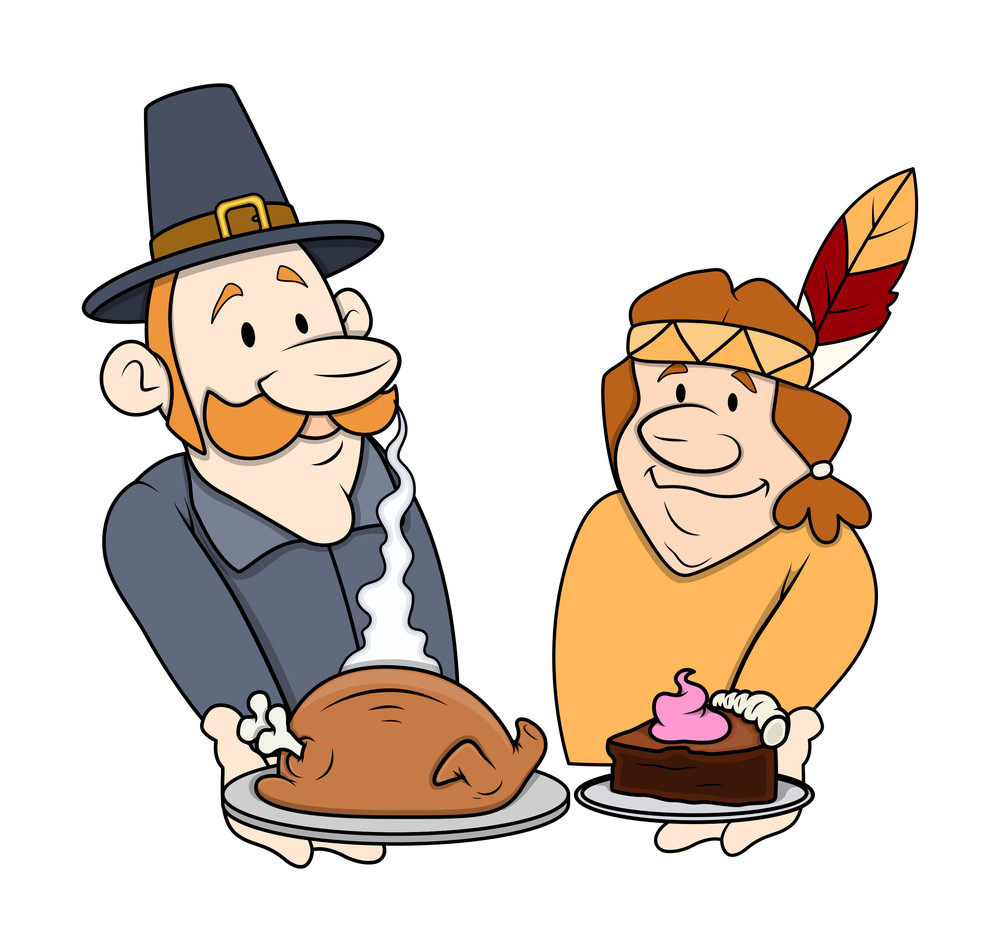Thanksgiving Day Cartoon Characters With Food