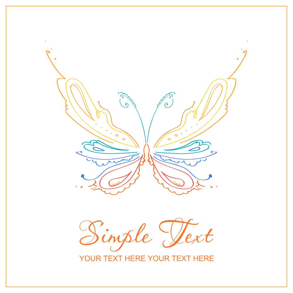 The Abstract Butterfly Card. Vector Illustration.