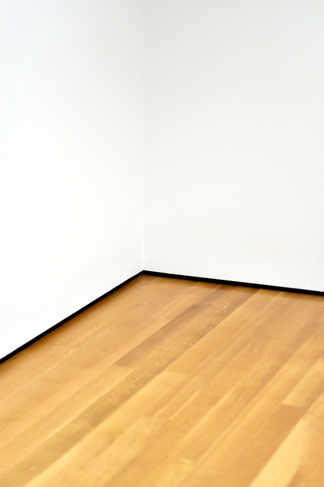 The corner of an empty room with wood floors and white walls. Lots of copy space.