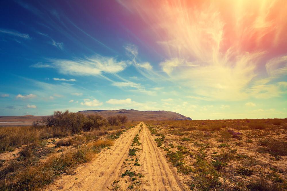 The dirt road in desert