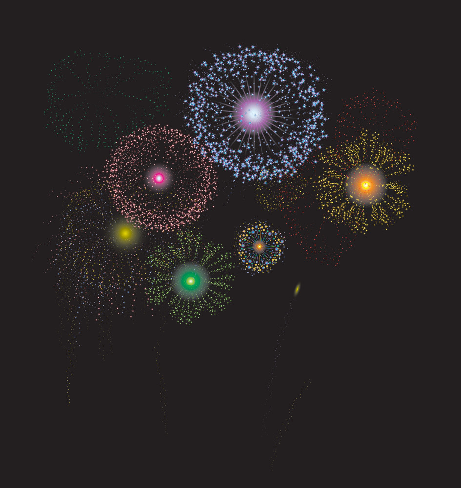 The Fireworks. Vector Illustration