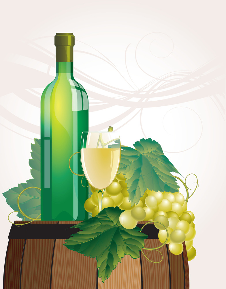 The Glass Of Wine, Bottle, Old Barrel And Grape. Vector.