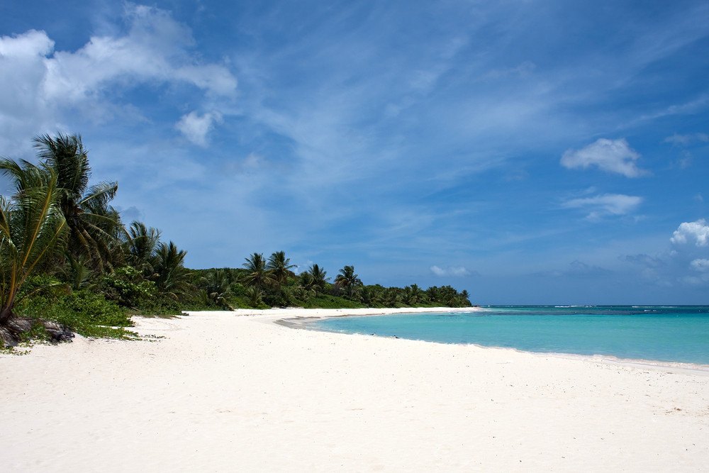 The gorgeous white sand filled Flamenco beach on the Puerto Rican island of Culebra.
