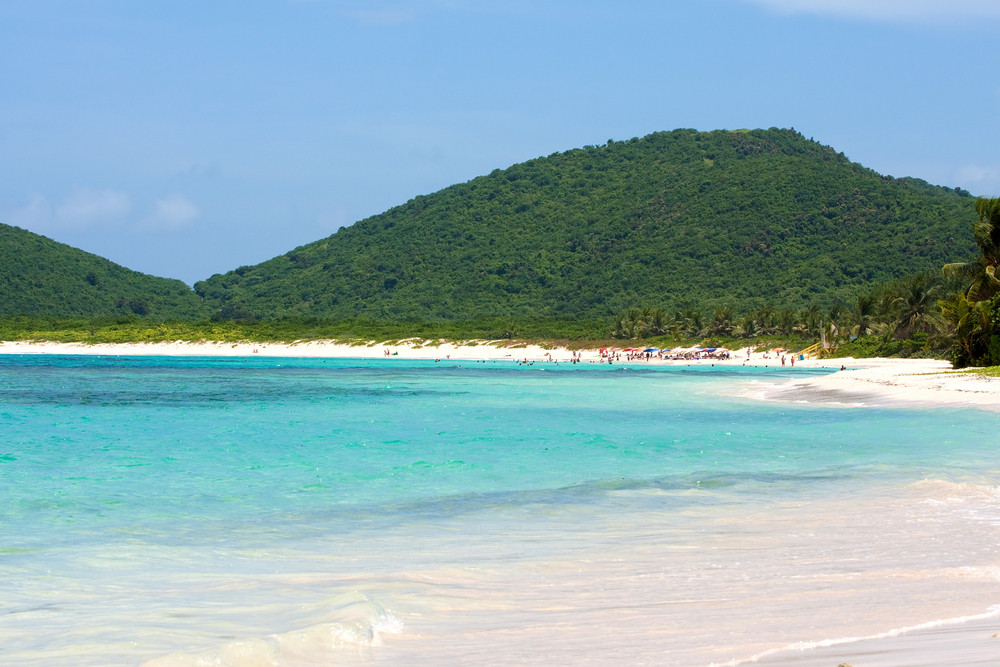 The gorgeous white sand Flamenco beach on the Puerto Rican island of Culebra.