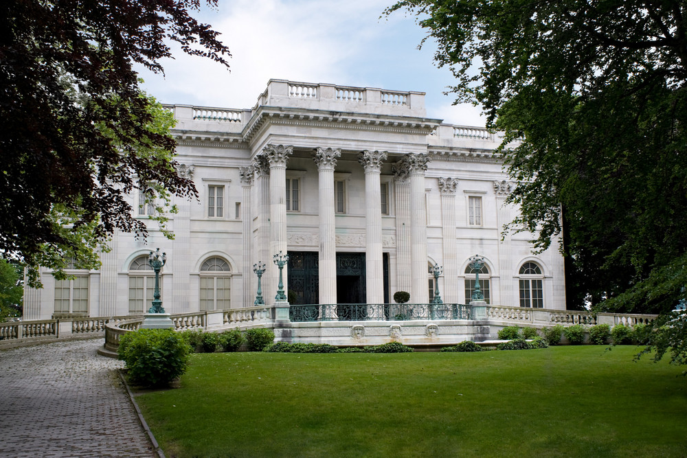 The historic Marble House mansion located in Newport Rhode Island. This example of classic architecture was owned by the Vanderbilts during the 1800s.
