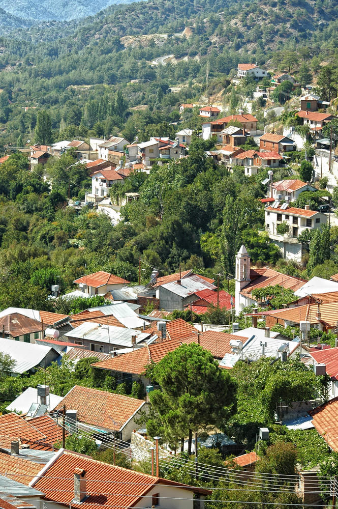 The Idyllic Village In Troodos Mountains.