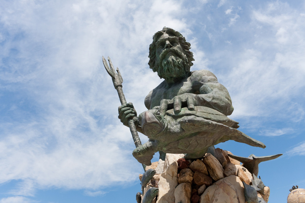 The large public statue of King Neptune  that welcomes all to Virginia Beach in Virginia USA.
