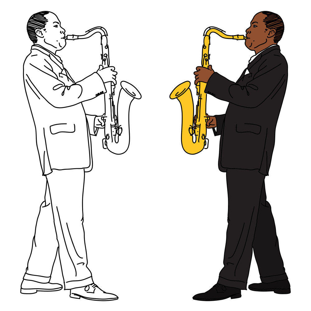 The Linear And Color Image Of The Saxophonist.