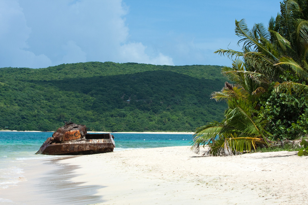 The old rusted and deserted military tank of Flamenco beach on the Puerto Rican island of Culebra.