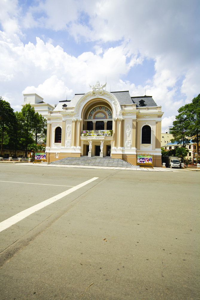 The opera house of Saigon Vietnam with space on street