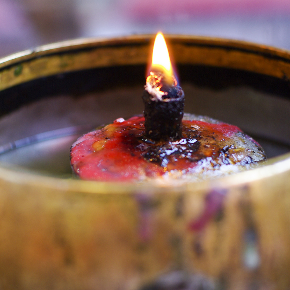 The red candle in Chinese temple