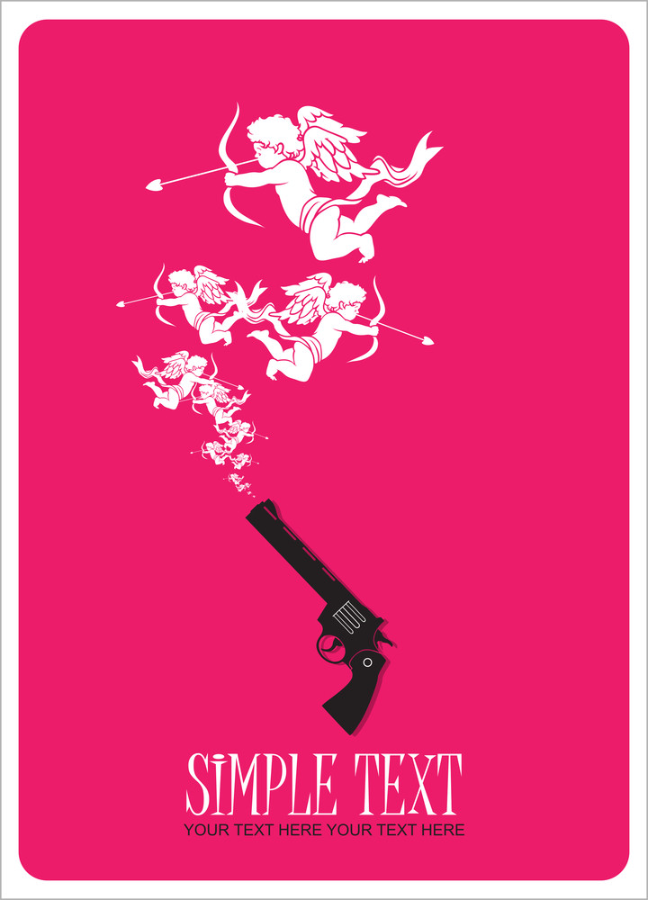 The Revolver Shoots Cupids. Abstract Vector Illustration.