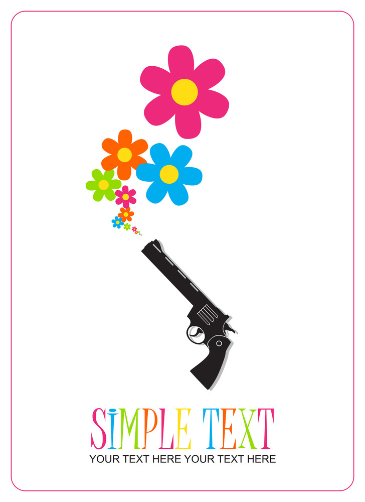 The Revolver Shoots Flowers. Abstract Vector Illustration.