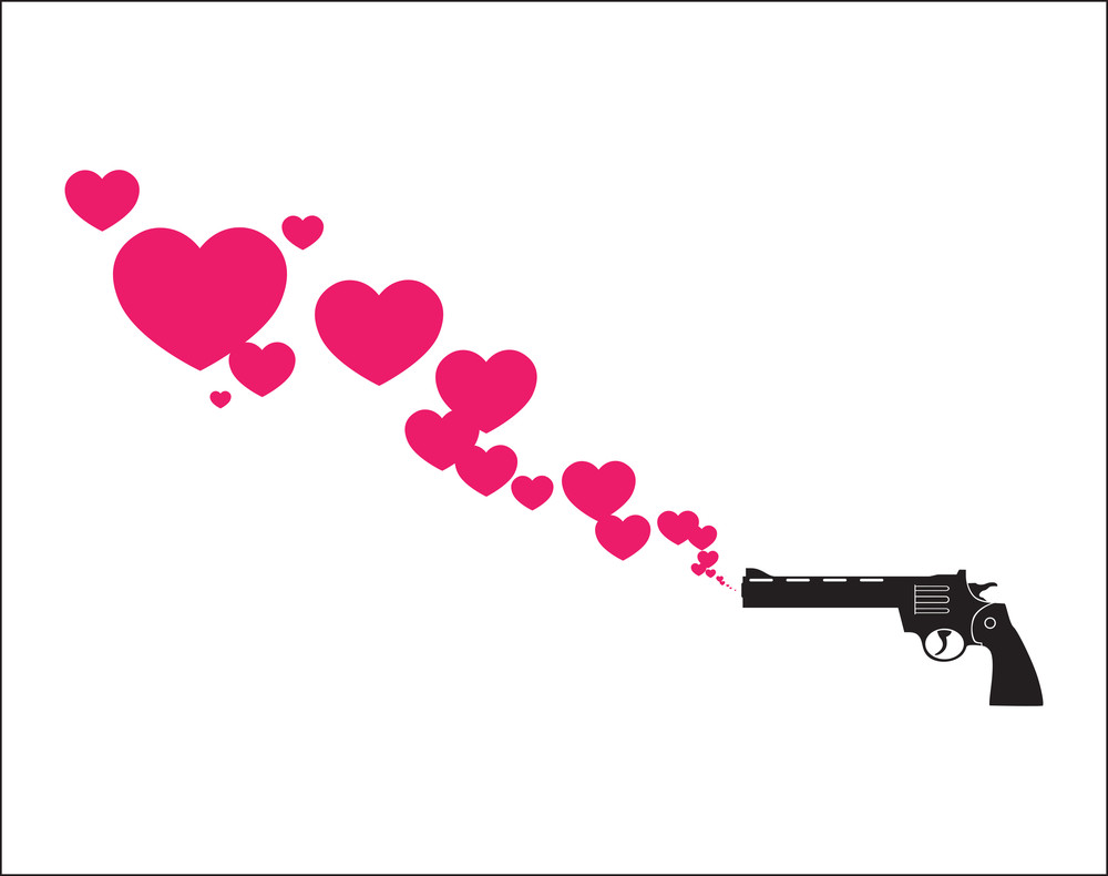 The Revolver Shoots Hearts. Abstract Vector Illustration.