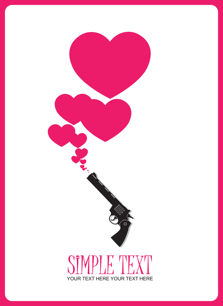 The Revolver Shoots Hearts. Abstract Vector Illustration.