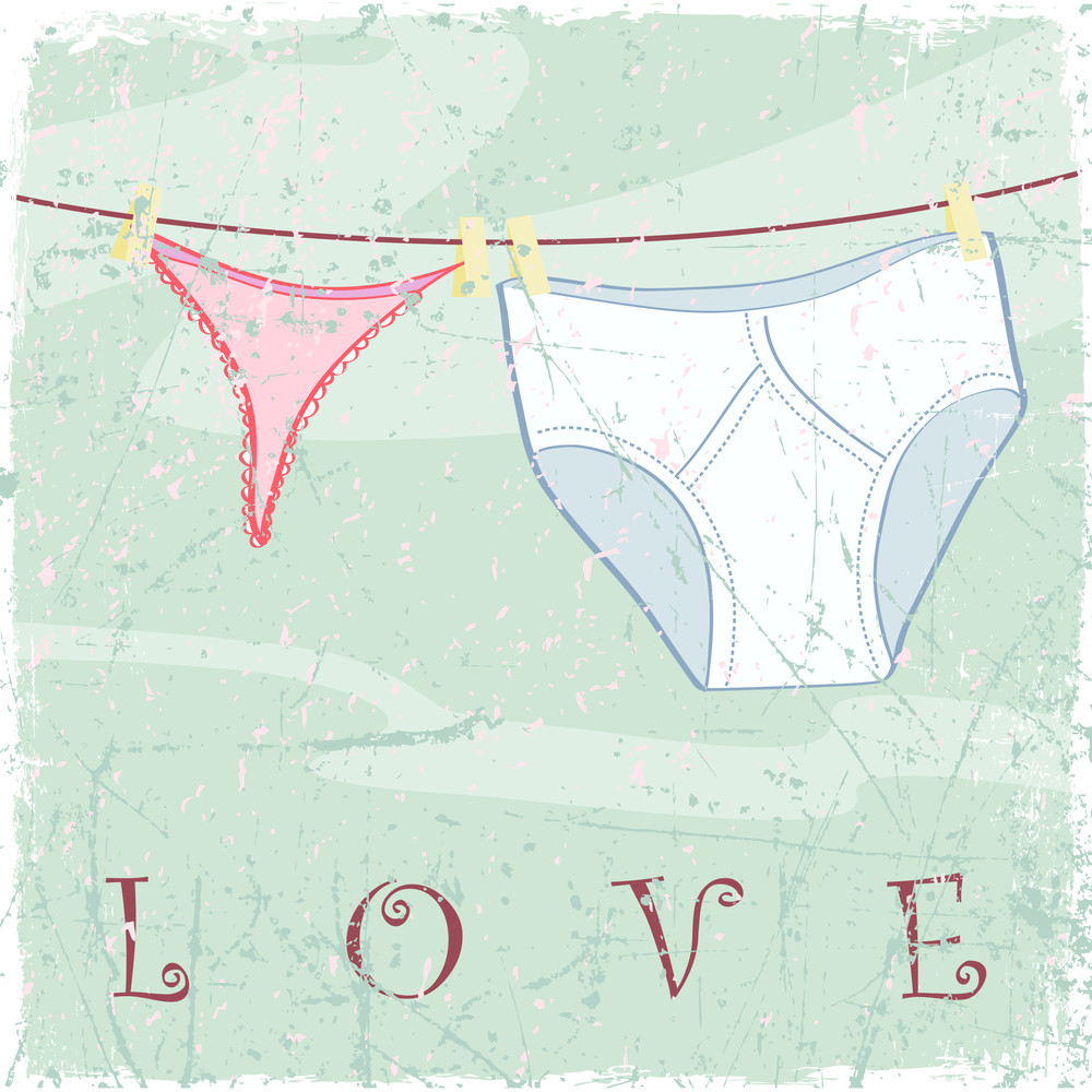 The Underwear Dries On Rope - Card. Grunge Vector Illustration.