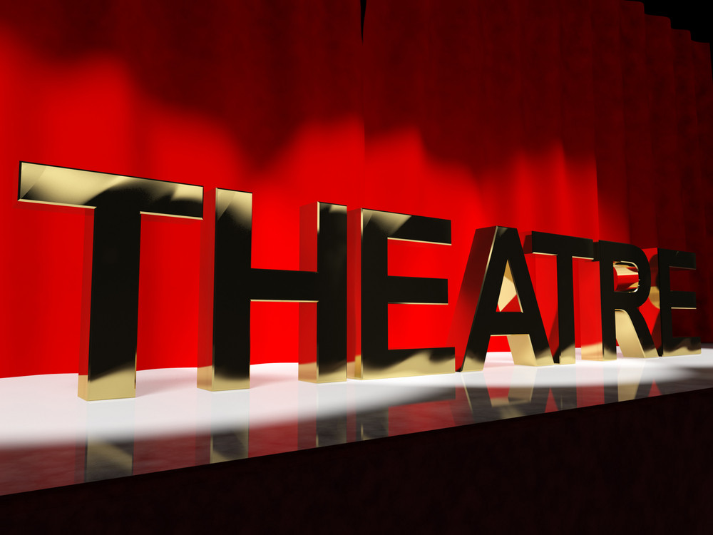 Theatre Word On Stage Representing Broadway The West End And Acting