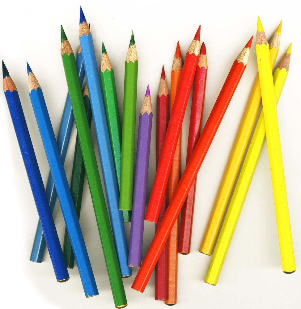 Thick Colored Pencils On White Background