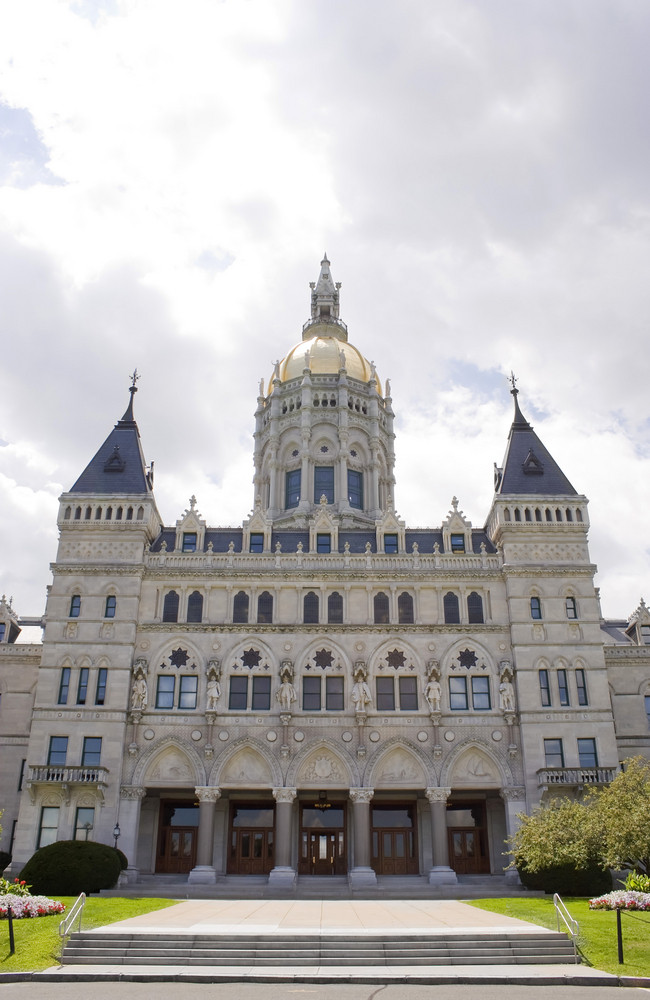 Thie golden-domed capitol building in Hartford, Connecticut.