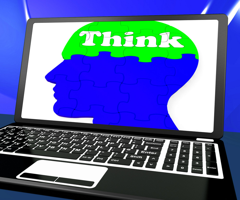 Think On Brain On Laptop Shows Solving Problems Online