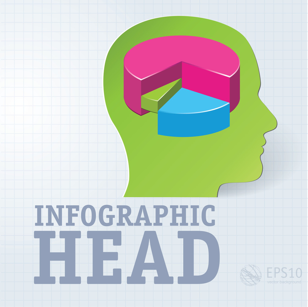 Thinking Infographic Head. Vector.