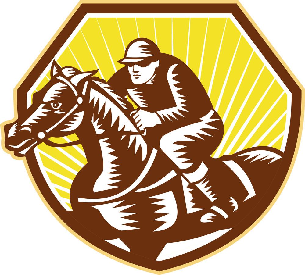 Thoroughbred Horse Racing Woodcut Retro
