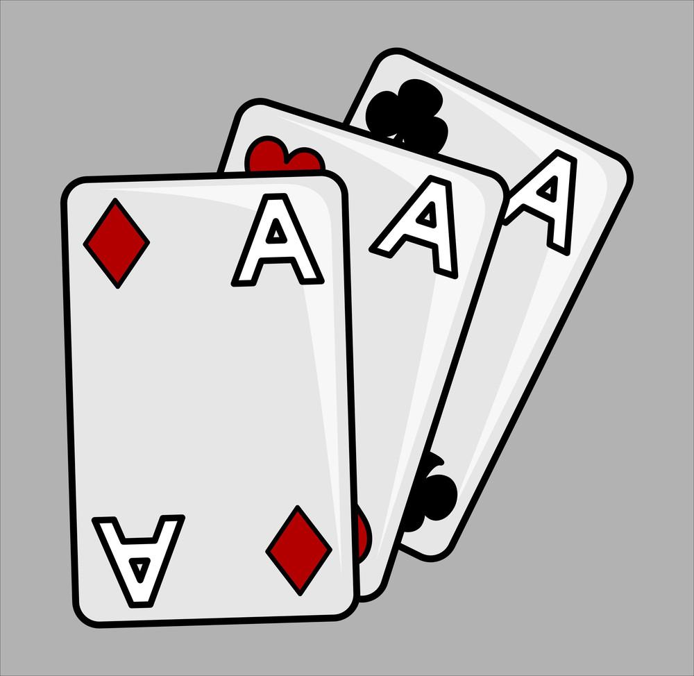 Three Aces - Cartoon Vector Illustration