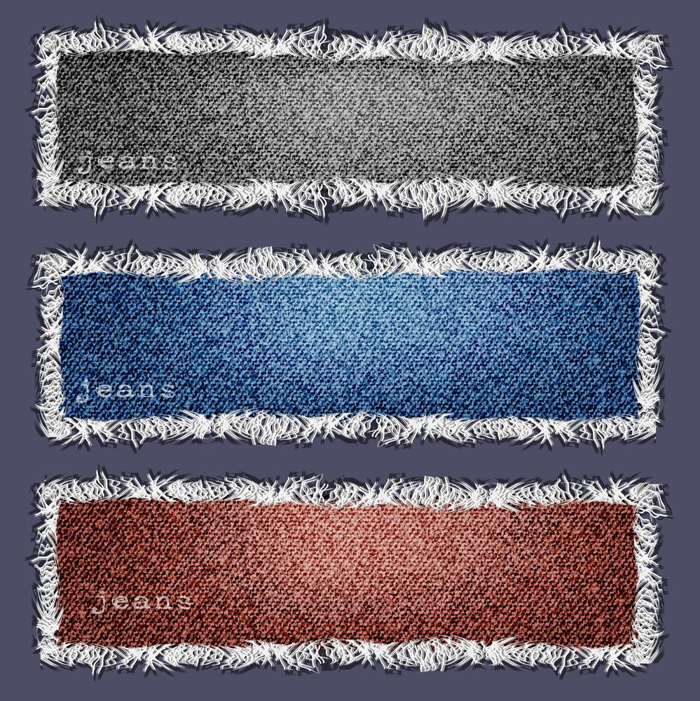 Three Banners Of Denim Texture