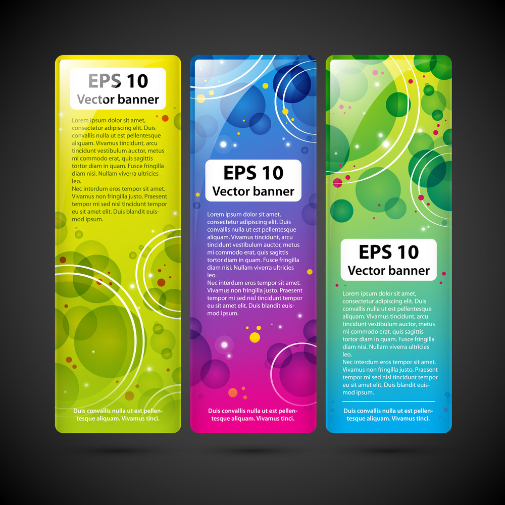 Three Colorful Techno Banners With Circles And Shiny Dots
