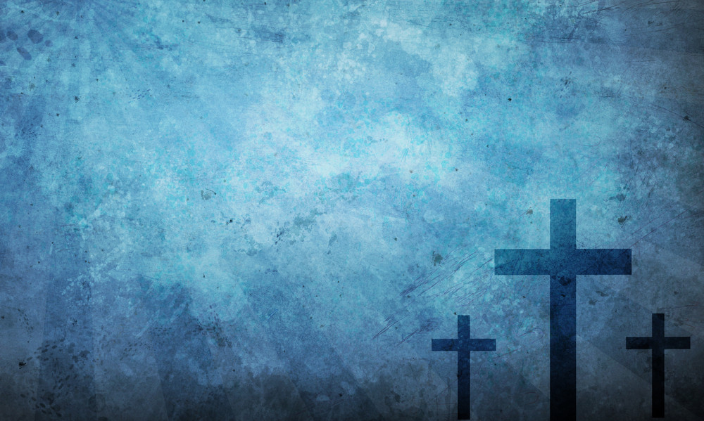 Three crosses on a blue textured background